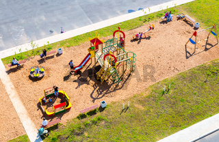Colorful children's playground for kids in new residential area