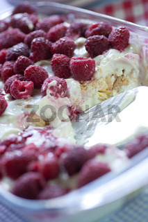 quark dessert with raspberries