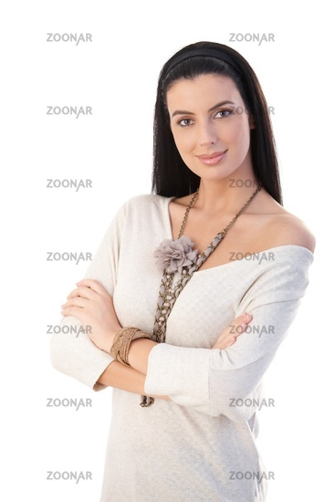 Portrait of pretty trendy woman