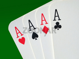 4 aces poker cards close up.