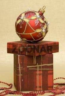 beautiful red Christmas ball and gift box