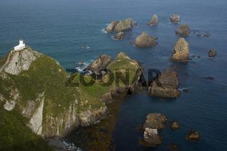 Nugget Point, Felsnadeln, die sogenannten Nuggets, und Nugget Point Leuchtturm, Catlins, Southland, Suedinsel, Neuseeland, Nugget Point, sea stacks called nuggets and Nugget Point Lighthouse, Catlins, Southland, South Island, New Zealand