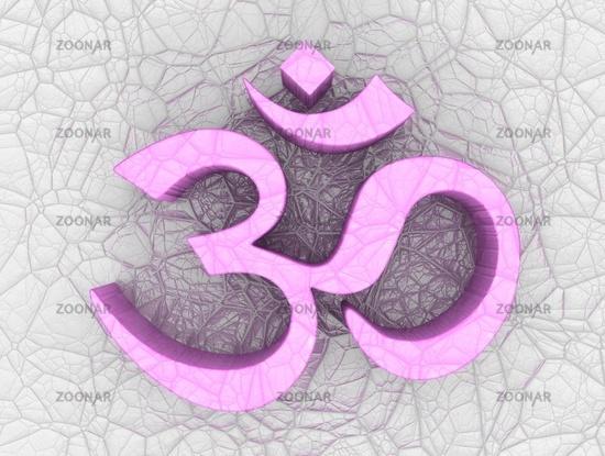 3D - Pink OM Zeichen auf Struktur
