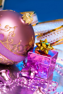 Christmas ball with gift box