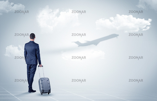 Businessman with luggage  look to an airplane