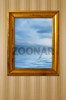 Vintage frame with sea view picture.
