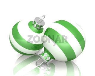 Weihnachtskugeln - 2x Grün Weiß gestreift 04