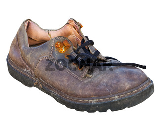 Old worn-out rotten shoe on white