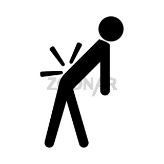 Man a with sick back . Backache it is black icon .