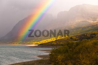 Rainbow Fall Color Sherburne Lake Many Glacier National Park Montana