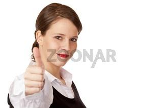 Junge attraktive dynamische Geschäftsfrau zeigt Daumen in Kamera
