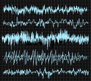 Sound wave set. Audio technology, musical pulse. Vector illustration.