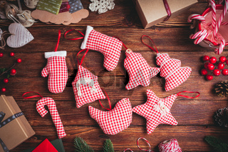 Red gingham toys