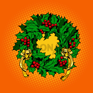 Christmas wreath of Holly with red berries