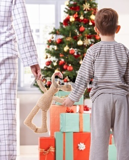 Mother and son and christmas gifts
