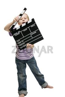 Junge mit Filmklappe