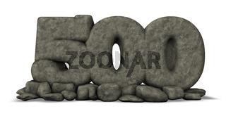 nummer fünfhundert aus stein - 3d illustration