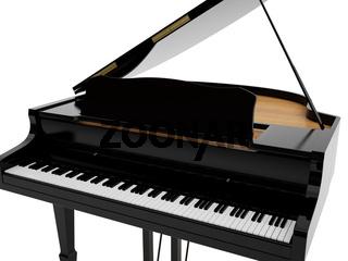 Black grand piano. High resolution image. 3d illustration.