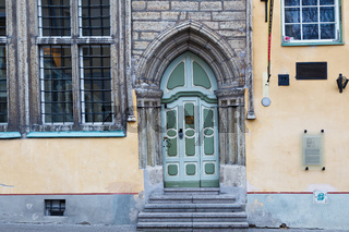 Ornate Green Gothic Door in Old Tallinn, Estonia