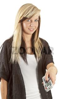 Junge Frau mit  Fernbedienung
