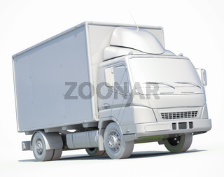 3d White Delivery Truck Icon