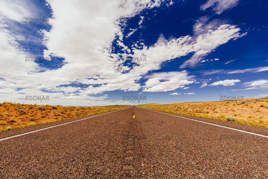 Endless road, no traffic, Highway 24, Emery County, Utah, USA