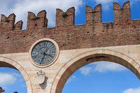 Clock at Portoni della Bra in Verona, Italy