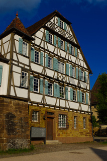 MAULBRONN, GERMANY - MAI 17, 2015: row Tudor style houses at the monastery is part of the UNESCO World Heritage Site.