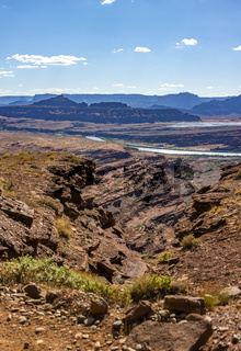 Canyon vies in Moab, Utah seen from the view of off-roading vehicles. erosion from water
