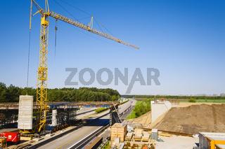 Baustelle am Autobahnkreuz Schwerin, Mecklenburg-Vorpommern, Deutschland