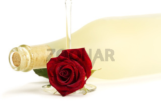 eine nasse rote rose unter einer flasche prosecco mit einem sektglas
