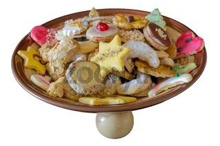 Weihnachtsplaetzchenschuessel freigestellt mit weissem Hintergrund