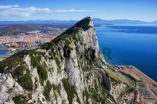 Rock of Gibraltar at Mediterranean Sea