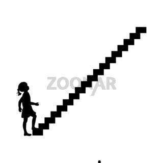 Silhouette girl up climbing stair