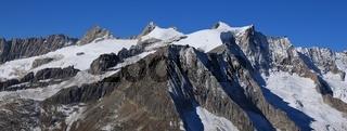 Mountain range in Switzerland covered by Glacier. Driest glacier and Zenbaechen glacier. Mount Fusshorn.