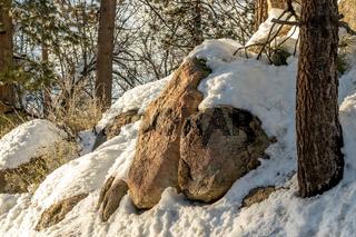 Boulder Rocks, Climate Change at Southern California, Big Bear Mountain, San Bernardino, 2016