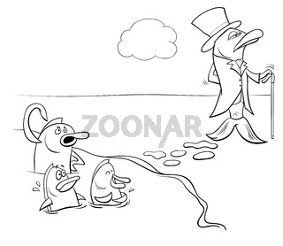 fish out of water black and white cartoon