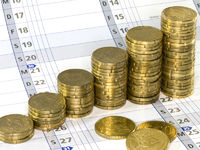 Euro coins on calendar, Euro Muenzen und Kalender