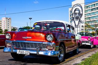 Classic Car at Plaza de la Revolucion, Havana, Cuba