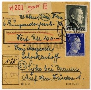 Paketkarte Deutsches Reich von Wien nach Syke von 1944