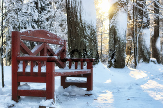 wood bench in winter