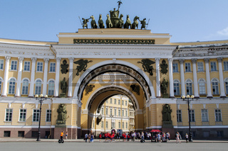SAINT PETERSBURG - JUNE 05, 2014: Chariot of Glory on the Triumphal Arch General Staff Palace Square.