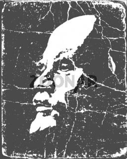 vector portrait of the lenin on poster