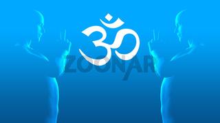 Om Sign - Double Meditation - blue white