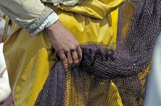 Hand eines Tagelöhner, Hafen von Essaouira, Marokko, Afrika