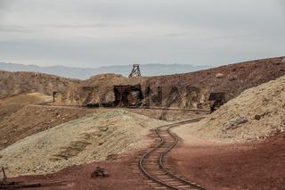 Rails in Calico ghost town in san bernardino county in USA