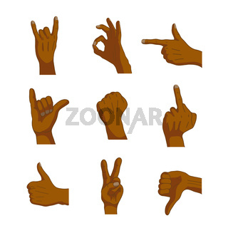 Common cartoon black hand signs on white