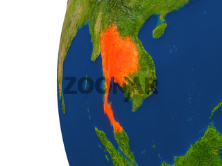 Thailand on globe