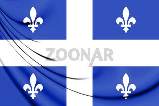 3D Flag of Quebec Province. 3D Illustration.