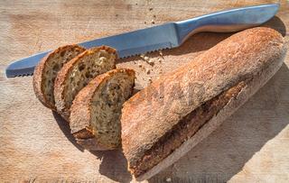 sliced local sicilian baguette bread in Sicily